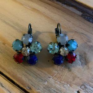 Sabika Flower Drop Swarovski Crystal Earrings